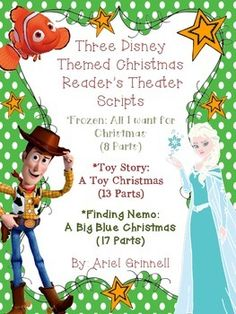 """This is a fantastic way to add holiday cheer to your classroom! This set includes three Disney themed Christmas reader's theater scripts. The scripts are for the short stories: """"Frozen: All I Want for Christmas"""" (8 parts), """"Toy Story: A Toy Christmas"""" (13 Parts) and """"Finding Nemo: A Big Blue Christmas"""" (17 parts)."""