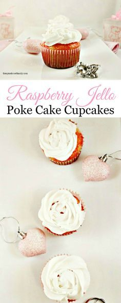 Raspberry Jello Poke Cake Cupcakes are the perfect Spring dessert.