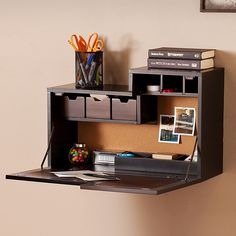 Shop for wall mount desk at Bed Bath & Beyond. Buy top selling products like Southern Enterprises Dover Wall Mount Desk in Black/Brown and Southern Enterprises Wall Mount Laptop Desk in Brown Mahogany. Desks For Small Spaces, Furniture For Small Spaces, Desk In Small Space, Space Saving Furniture, Office Furniture, Furniture Nyc, Furniture Market, Furniture Removal, Fold Down Desk