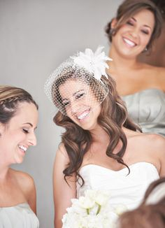 Birdcage veil with hair out