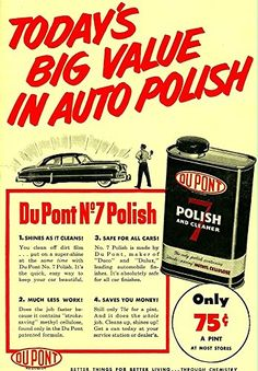 'DuPont No.7 Car Polish - 1951' Wonderful A4 Glossy Art P…