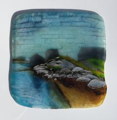 Fishing Shacks/Peggy's Cove 08/12 - June Derksen. Fused glass frit painting created in a collage manner. Sold