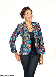 Blazer com tecido africano. Pode ser usado com uma camisola e calça jeans.