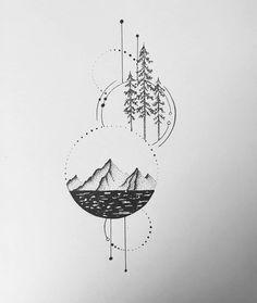 Line Art Tattoos, Tattoo Drawings, Body Art Tattoos, Small Tattoos, Sleeve Tattoos, Tatoos, Geometric Compass, Geometric Mountain Tattoo, Geometric Tattoo Design
