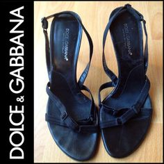 SALE! DOLCE & GABBANA Black Strappy Sandals /Heels Authentic. Used condition but still can be put to good use. The heel strap is adjustable to conform. SALE PRICE IS FIRM. Dolce & Gabbana Shoes Heels