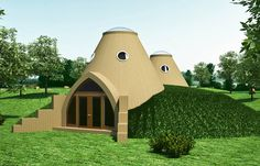 Modular solar earthbag domes with reciprocal roofs can be joined to create larger structures of any size.