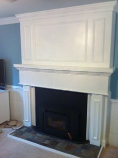 Fireplace makeover, covered up most of the brick with board and ...