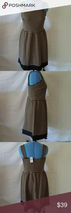 ASHLEY STEWART BROWN/WHITE STRIPE DRESS SIZE 14/16 100% polyester 36 inches from bust to hem Ashley Stewart Dresses