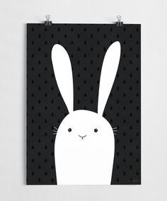 Bunny art print, black and white poster, nursery illustration //  White Bunny
