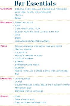Bar essentials list.