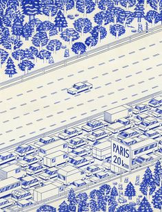 Blue Lines Series by Kevin Lucbert #freeway #traffic #illustration #cars