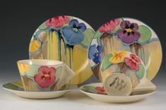 Andrew Muir | Clarice Cliff, Art Deco Pottery, Moorcroft and 20th Century Ceramics Dealer - Pansies stamford teaset