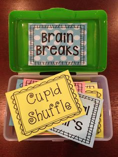 Store your Brain Breaks inside of a pencil box. It doesn't t… BRAIN BREAKS! Store your Brain Breaks inside of a pencil box. It doesn't take up much space, and students will be so excited when they see you pull out the Brain Break Box! 5th Grade Classroom, Classroom Fun, Future Classroom, Classroom Activities, Classroom Incentives, Kindergarten Classroom Organization, Behavior Incentives, Guided Reading Activities, Classroom Pictures