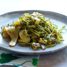 Spinach #Fettuccine with Tangy #Grilled Summer #Squash