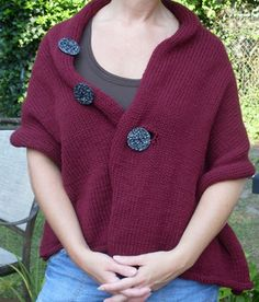 Three Way Wrap by Ingrid Nickols. Free pattern from Loopsknitting.com: This simple cashmere-blend wrap can be worn three ways. Button the top button for an asymmetrical stole look. Button the middle for a classic wrap. Button the bottom button if you just want to show off all your buttons.