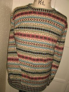 NEW HAND KNITTED SHETLAND FAIR ISLE SWEATER/JUMPER UNISEX42  CHEST PURE NEW WOOL £112.00