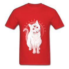 Psychic Kitty Cat Red Adult Standard Weight T-shirt For Men Supply-Animals & Nature  T-shirts price as low as $5.99,Choose from tons of designs to customize your own t-shirts.  http://hicustom.net/ Customized shirt make great gifts.
