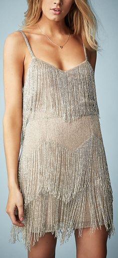 Kate Moss for Topshop Beaded Fringe Tiered Dress - as franjas estão com tudo nesta estação!