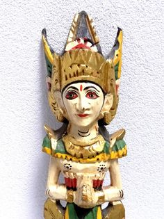 Carved Balinese Dancer - Vintage Polychrome Handpainted Wooden Woman Figurine - Indonesian Souvenir Wall Decor at VintageArtAndCraft