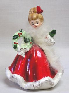 Vintage Christmas Josef Originals Lovely Lady w Wreath and Fur Collar❤❤❤