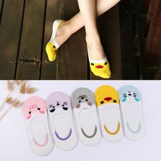 10Pairs Little Yellow Duck Stealth Super Shallow Mouth Invisible Socks Cotton Silicone non-slip For women Boat Quality Sock #Affiliate