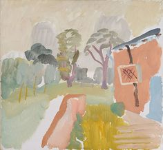 'The Pink House' by Ivon Hitchens, 1934 Abstract Landscape, Landscape Paintings, Watercolor Flowers, Watercolor Art, Graphic Illustration, Painting & Drawing, Sculpture Art, Modern Art, Art Photography