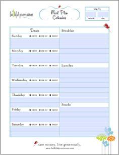 Weekly Meal Planner Template  Printables    Weekly
