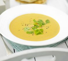 Sweet potato & coconut soup - beautifully creamy soup with a little kick of chili.works very well with butternut squash instead of sweet potato, or even a combination of both Soup Recipes Uk, Coconut Soup Recipes, Coconut Milk Soup, Bbc Good Food Recipes, Indian Food Recipes, Cooking Recipes, Healthy Recipes, Ethnic Recipes, Bulk Cooking