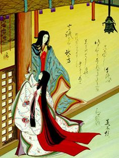 """The Tale of Genji, chapter """"The Handsome Pillar"""". Agameishi took on the major challenge of illustrating every poem in the book. Japanese Site, Japanese Geisha, Geisha Anime, Western Costumes, Heian Era, Square Card, Blue Roses, Christmas Wishes, Things To Come"""