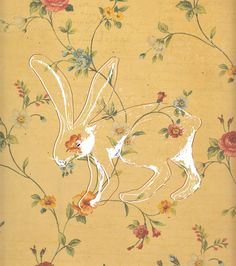 Love this. Hidden bun in wallpaper munching on the flowers! Anneke Harmsen