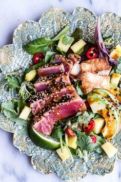 Low Unwanted Fat Cooking For Weightloss Seared Ahi Tuna Poke Salad With Hula Ginger Vinaigrette Wonton Crisps Tuna Recipes, Seafood Recipes, Salad Recipes, Dinner Recipes, Cooking Recipes, Healthy Recipes, Healthy Meals, Healthy Weight, Dessert Recipes