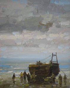 "Saatchi Art Artist Vahe Yeremyan; Painting, ""Fishing Boat Original oil Painting on Canvas Handmade artwork"" #art"