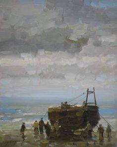 "Saatchi Art Artist Vahe Yeremyan; Painting, ""Fishing Boat Original oil Painting on Canvas Handmade artwork"" #art"