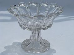 EAPG vintage pressed glass comport, antique pedestal dish compote bowl  $18.50