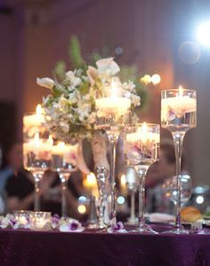 Glass candle and flower centerpiece