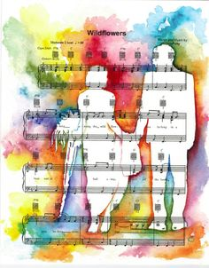 Fine Art Watercolor Lovey Dovey couple Silhouette Custom painting on your choice of sheet music by Fine Artist, Kit Sunderland, $90.00