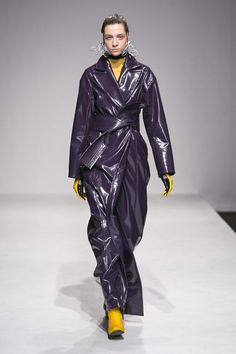TheoKiev Fashion Week Ready To Wear Collection Fall Winter 2015 Live Fashion, Fashion Week, Runway Fashion, Fashion Show, Purple Maxi, Pvc Raincoat, Lingerie, Fall Winter 2015, Rain Wear