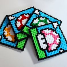 Super Mario Inspired Hama Bead Coaster Set  Perler by EssHaych