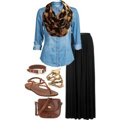 A fashion look from July 2014 featuring blue long sleeve shirt, long pleated skirt and brown flats. Browse and shop related looks. Infinity Scarf Outfits, Cheetah Scarf, Semi Casual, Fashion Looks, Women's Fashion, Blue Long Sleeve Shirt, Fall Winter Outfits, Feminine Style, Autumn Fashion