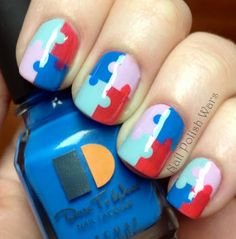 diy puzzle piece nails for autism month