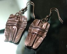Copper Fold Formed Earrings, Rustic Patina, Cross-Form Fold Form. Silver Seahorse via Etsy.