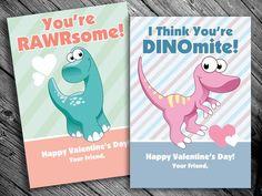 Printable Dinosaur Valentine Cards for Kids