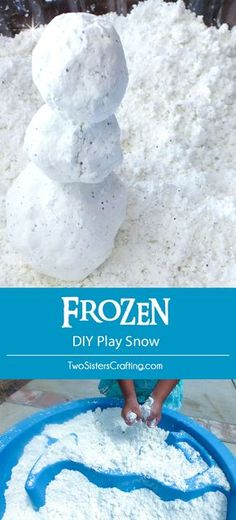 Disney Frozen DIY Play Snow for a Do You Want to Build a Snowman activity at a Frozen Birthday Party. It's so easy to make, felt just like snow and we have all the directions right here. Follow us for more fun Frozen Party Ideas.