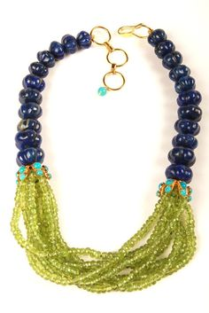 Necklace with Melon Lapis and Multi Strand Peridot. Chic semi precious stones used in jewelry from Bounkit.