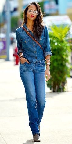 Denim on denim done right. Zoe Saldana  CLICK THIS PIN if you want to learn how you can EARN MONEY while surfing on Pinterest
