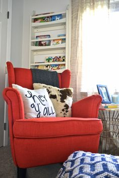 Bright Red @IkeaUSA Wingback Chair DIY'd into a Rocker in this Woodland Nursery