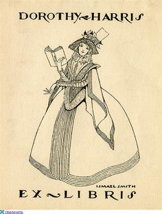Ismael Smith / bookplate for Dorothy Harris depicting woman in Elizabethan full-skirted dress reading a book