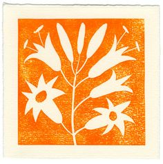 "Mary Peterson - Tiger Lilly 1-color linocut print -- Orange  paper size: 4.5""x4.5""  image size:3.875""x3.875""  printed on Fabriano Medioevalis"