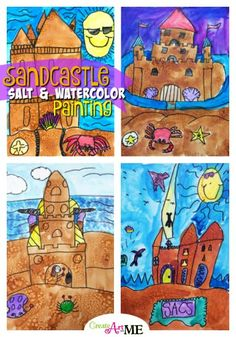 Sand Castle Salt and Watercolor Painting Art Lesson is perfect for a summer art project for second grade. Art Education Projects, Classroom Art Projects, School Art Projects, Art Classroom, Elementary Art Lesson Plans, Third Grade Art, Second Grade, Summer Art Projects, Painting Art