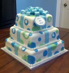Boy Oh Boy! Baby Shower Cake - This is the second cake I have ever made...YAY!  I made this for a friend of a friend for a baby shower.  She wanted a cake that looked like a stack of presents.  I attached a gift tag that says Boy Oh Boy!  I am pretty excited and cannot wait to make and decorate more cakes!!